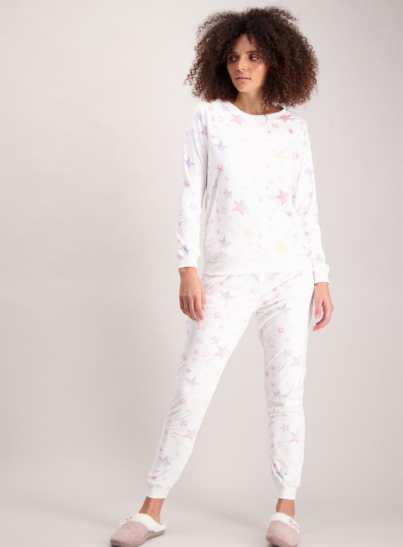7077b9ddaa17 Womens Cream Star Print Velour Pyjamas