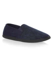 Navy Enclosed Back Slippers