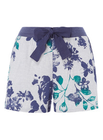 Blotch Print Floral Shorts