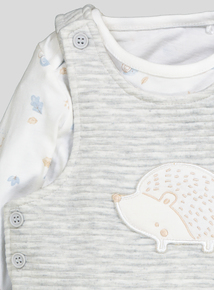 Grey And White Quilted Hedgehog Dungaree Set (0-24 months)