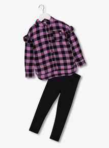 Purple Check Shirt   Legging Set (4-14 Years) 97bf9b3338f8