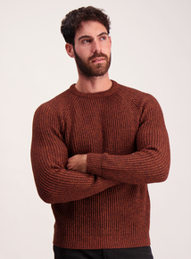 Rust Red Ribbed Crew Neck Jumper