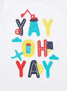 White 'Yay Oh Yay' Print Top (0-24 months)