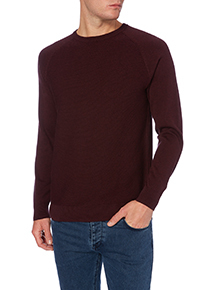 Red Ribbed Crew Jumper