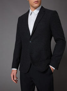 Dark Charcoal Twill Slim Fit Jacket