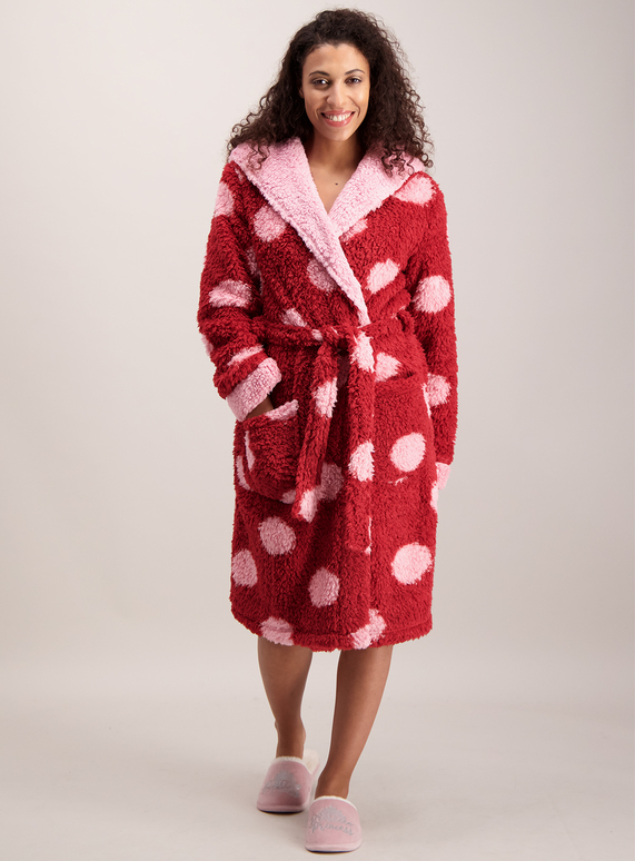 Womens Red Pink Giant Dot Fleece Dressing Gown Tu Clothing