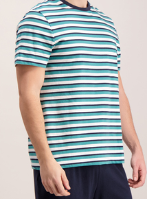Turquoise Stripe Crew Neck Short Pyjamas