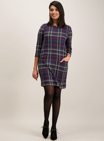 Multicoloured Check Brushed Shift Dress