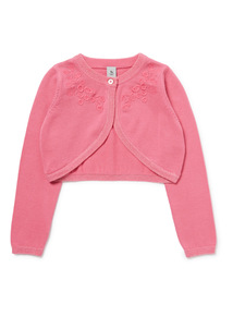 Pink Floral Embroidered Bolero (3-14 years)