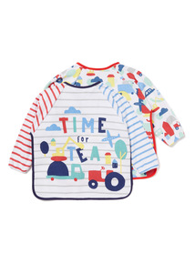 2 Pack Multicoloured Long Sleeve Bibs