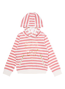 Girls Red Stripe Slogan Hoody (3-12 years)