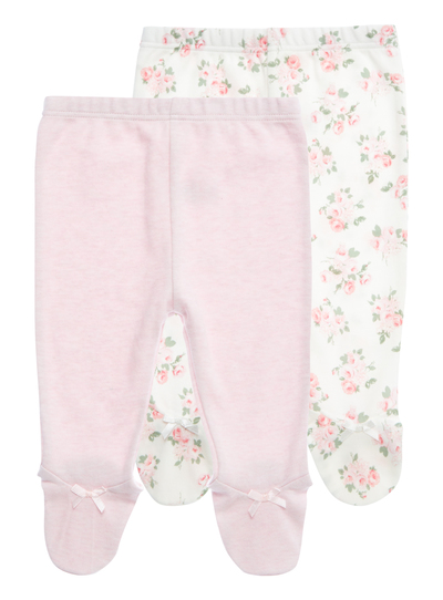 a25c6cbbbbcd4 Baby Girls Pink Floral Footed Leggings 2 Pack (0-24 months) | Tu ...