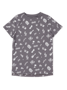 Grey Printed Tee (3-14 years)