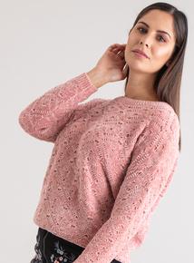 Premium Pink Chenille Diamond Knit Jumper