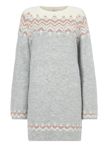 Grey Fairisle Knit Tunic