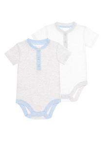 Boys Blue Grandad Collar Bodysuits 2 Pack (0-12 months)