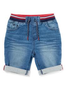 Blue Denim Ribbed Waist Shorts (3-14 years)