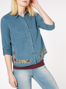 Teal Embroidered Tencel Shirt