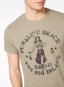 Khaki Hawaii Beach T-Shirt