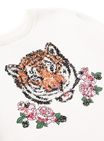 Cream Tiger Face Sweatshirt (3-14 years)