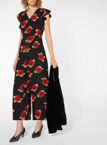 Floral Print Ruffle Jumpsuit