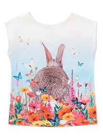 Multicoloured Short Sleeve Bunny Print T-Shirt (3-14 years)