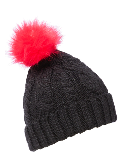 Womens Black Hat With Pink Fur Pom Pom  95b2cc1e9d