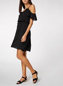 Black Ruffle Cold Shoulder Dress
