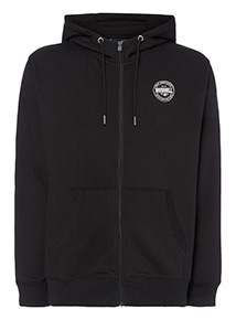 Russell Athletic Black Grey Logo Hoodie