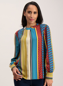 Multicoloured Striped High Neck Blouse