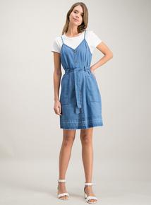 6d8228d641895 Blue Denim Belted Cami Dress
