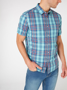 Blue Check Short Sleeve Regular Fit Shirt