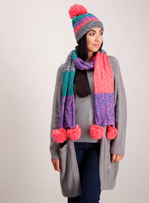 Multicoloured Funky Cable Knit Scarf With Double-Ended Pom-Poms