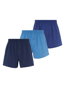 Navy Woven Boxers 3 Pack