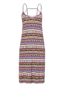 Multicoloured Aztec Print Strappy Dress