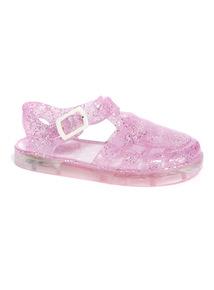 Pink Glitter Jelly Light Up Sandals