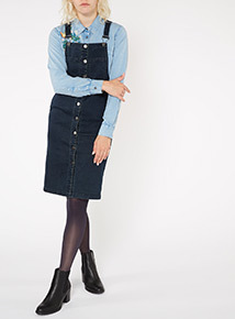 Navy Denim Pinafore Dress