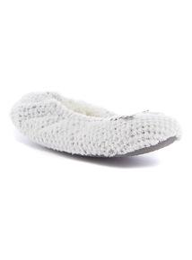 Grey Waffle Ballerina Slippers