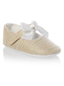 Girls Cream Lurex Bow Shoe (0-24 months)