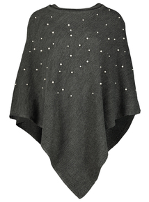 Grey Knitted Pearl Embellished Poncho
