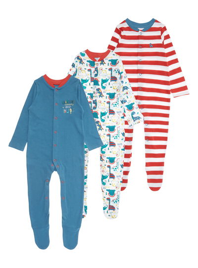 3eb6c937a Baby Boys Red DInosaur Sleepsuits 3 Pack (0-24 months)