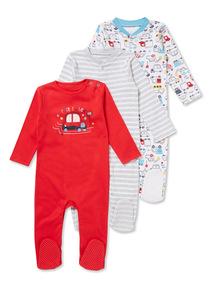 3 Pack Multicoloured Race To Bed Sleepsuits (Newborn-24 months)