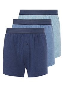 3 Pack Blue Marl Boxers