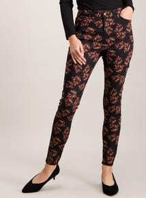 Black Floral Print Skinny Jeans