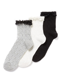 3 Pack Multicoloured Frill Socks