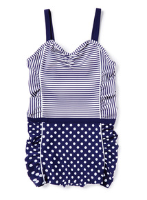 Navy Spot and Stripe Swimsuit (3-14 years)