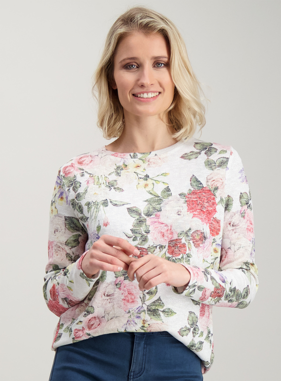 5988e05549 Womens Multicoloured Floral Sparkle Knit-Look Top