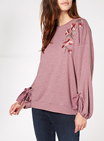Purple Floral Embroidered Sweater