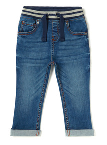 Blue Ribbed Waist Denim Jeans (9 months-6 years)