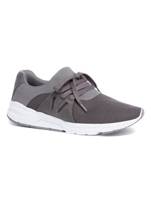 Grey Fabric Mix Trainers